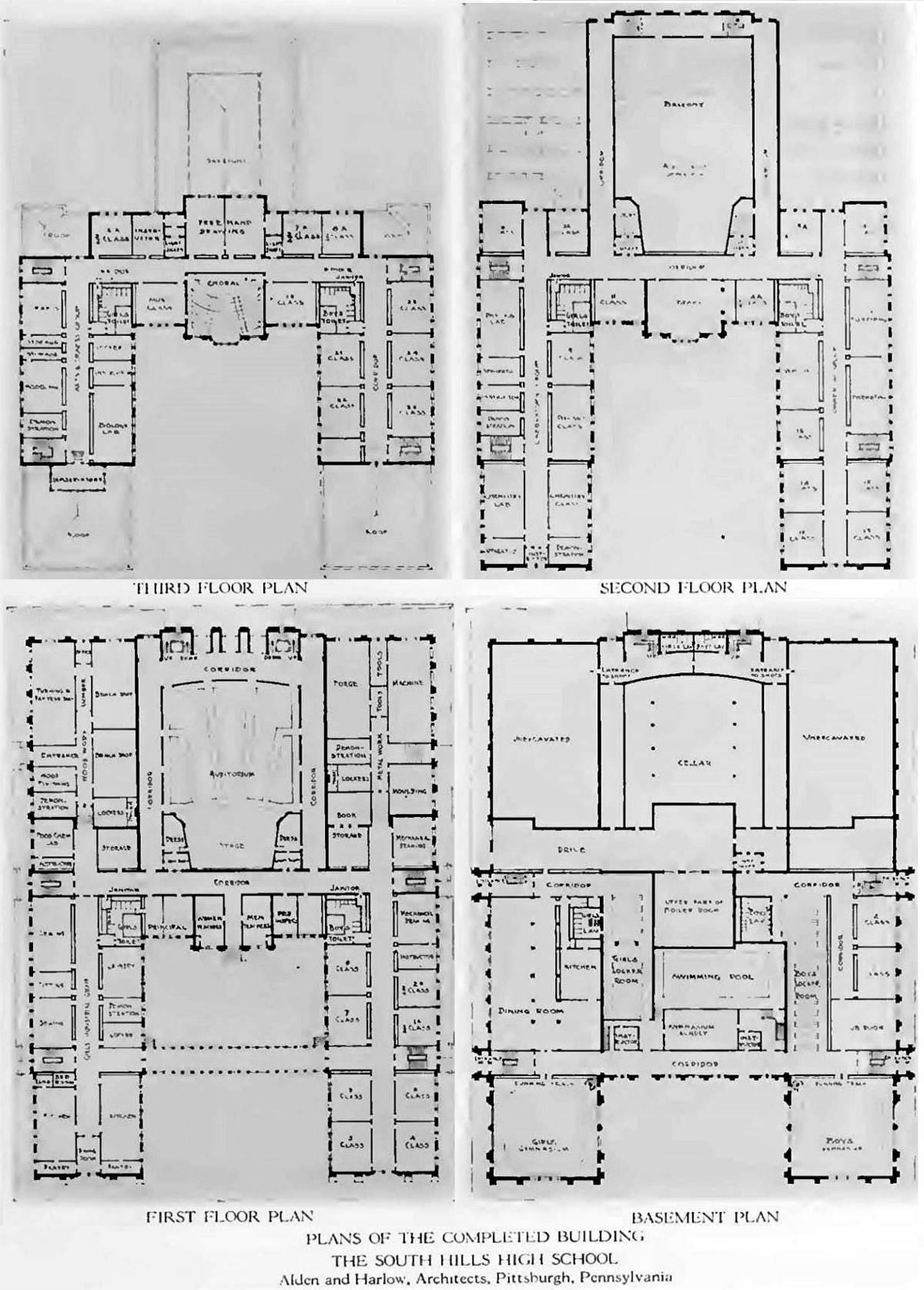 Floor plan of south hills high school 1917