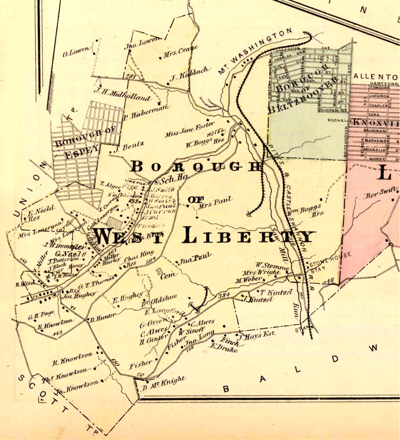The History Of Brookline First 260 Years 1754 2014 1956 Bel Air Heater Wiring Diagram 1876 Map West Liberty Borough